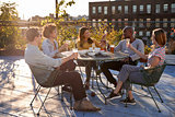 Friends talking on a New York rooftop raise glasses
