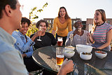 Friends talking and drinking on a New York rooftop, close up