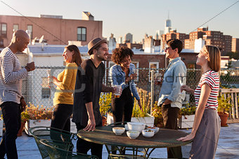 Friends stand talking at a party on a New York rooftop