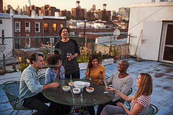 Six adult friends enjoying a party on a New York rooftop