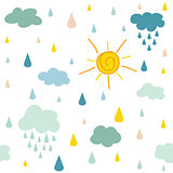 kids pattern with clouds rain drops and dots
