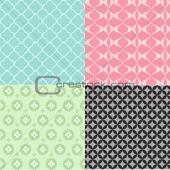 A colorful abstract seamless pattern set