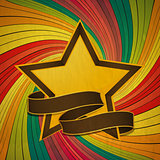 Vintage star and banner over colourful swirl