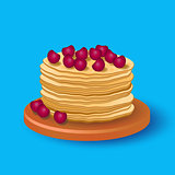 A stack of delicious delicious pancakes with cherries.