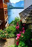 Hallstatt Austria traditional austrian yard with flowers