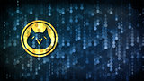 Monacoin - Web Icon on Dark Digital Background.
