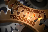 Technological Progress on Golden Gears. 3D Illustration.