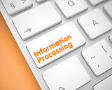 Information Processing - Text on the White Keyboard Key. 3D.