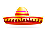 Naturalistic colorful sombrero on White Background. Vector Illustration