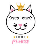 Little Cute Cat Princess Vector Illustration