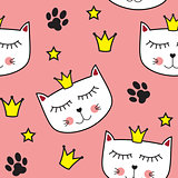 Little Cute Cat Princess Seamless Pattern Background Vector Illustration