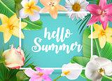 Hello Summer Natural Floral Background with Frame Vector Illustration