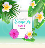 Summer Sale Cute Background with Flowers. Vector Illustration