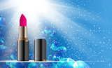 Design Cosmetics Product Lipstick Template for Ads or Magazine Background. 3D Realistic Vector Iillustration