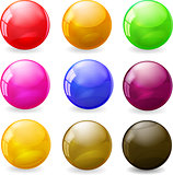 Set of colored glossy spheres