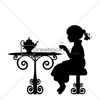 Silhouette girl drink tea at table