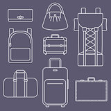 Different types of bags, white outline flat vector illustration collection on dark background