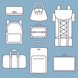Different types of bags, white flat vector illustration with outline, collection on blue background