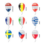 Balloons with Countries flags set