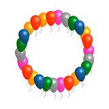 Helium balloons circle vector frame