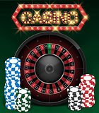Casino Gambling background design with realistic Roulette Wheel and Casino Chips. Roulette table isolated on green background. Vector illustration.