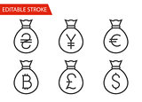 Bags with Money Thin Line Vector Icons Set