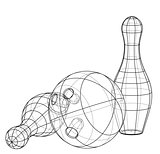 Bowling skittles and ball outline. Vector