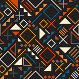 Vector Seamless Retro 80 s Jumble Geometric Line Shapes Teal Orange Color Pattern on Black Background