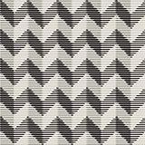 Vector Seamless Black And White Vintage Engraved Chevron ZigZag Horizontal Stripes Pattern