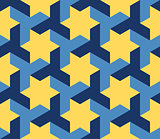 Vector Seamless Blue Yellow Geometric Star Triangle Shape Tessellation Pattern