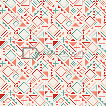 Vector Seamless Retro 80's  Jumble Geometric Line Shapes Blue Red Color Hipster Pattern on Grey Background