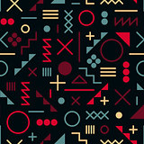 Vector Seamless Retro 80's  Jumble Geometric Line Shapes Pink Blue Color Hipster Pattern on Black Background