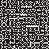 Vector Seamless Black And White Line Art Geometric Doodle Pattern
