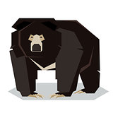 Flat polygonal Sloth Bear