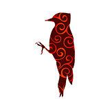 Woodpecker bird spiral pattern color silhouette animal