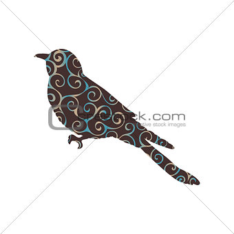 Cuckoo bird spiral pattern color silhouette animal