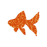 Goldfish fish spiral pattern color silhouette aquatic animal