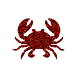 Crab spiral pattern color silhouette aquatic animal
