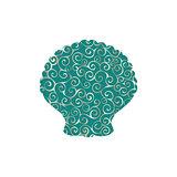 Clam mollusk spiral pattern color silhouette aquatic animal