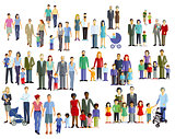 Family members, generation groups, illustration