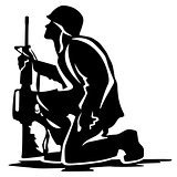Military Soldier Kneeling Silhouette Vector Illustration