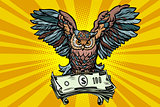 Owl holding in its talons the money