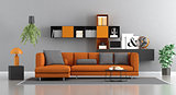 Modern orange and gray lounge