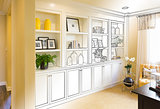 Custom Built-in Shelves and Cabinets Design Drawing Gradating to