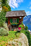 Hallstatt Austria decorative wooden old barn among