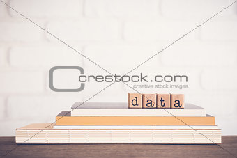 The word Data and copy space background.