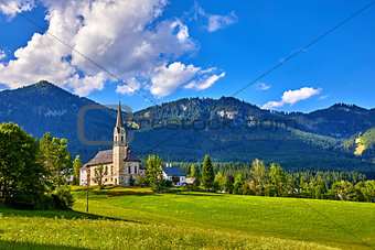 Austria traditional church with chapel in village