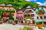Hallstatt Austria central market square traditional houses