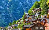 Hallstatt Austria vintage wooden houses