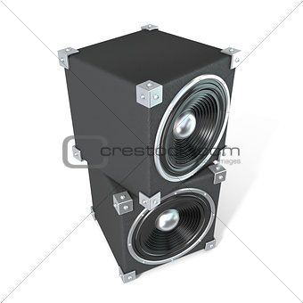 Pair of sound speakers. 3D